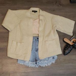 Forever 21 Short Sleeve Oversized Cardigan Tan